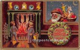 hol017186 - Santa Claus Postcard Old Vintage Christmas Post Card
