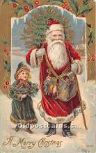 hol017229 - Santa Claus Postcard Old Vintage Christmas Post Card