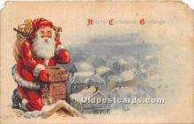 hol017287 - Santa Claus Postcard Old Vintage Christmas Post Card
