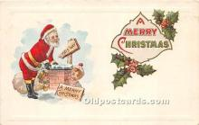 hol017318 - Santa Claus Postcard Old Vintage Christmas Post Card