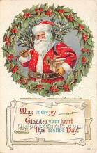 hol017330 - Santa Claus Postcard Old Vintage Christmas Post Card