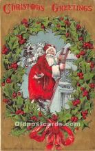 hol017335 - Santa Claus Postcard Old Vintage Christmas Post Card