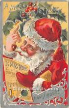 hol017338 - Santa Claus Postcard Old Vintage Christmas Post Card