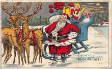 hol017352 - Santa Claus Postcard Old Vintage Christmas Post Card