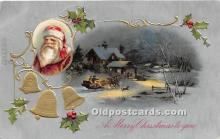 hol017357 - Santa Claus Postcard Old Vintage Christmas Post Card