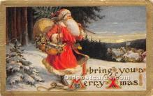 hol017402 - Santa Claus Postcard Old Vintage Christmas Post Card