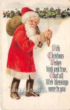 hol017406 - Santa Claus Postcard Old Vintage Christmas Post Card