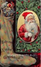 hol017407 - Santa Claus Postcard Old Vintage Christmas Post Card