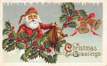 hol017502 - Santa Claus Postcard Old Vintage Christmas Post Card
