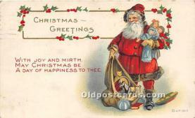 hol017503 - Santa Claus Postcard Old Vintage Christmas Post Card