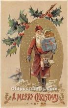 hol017610 - Santa Claus Postcard Old Vintage Christmas Post Card