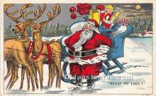 hol017614 - Santa Claus Postcard Old Vintage Christmas Post Card