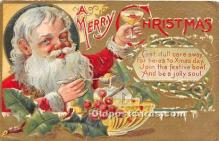 hol017673 - Santa Claus Postcard Old Vintage Christmas Post Card