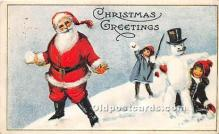 hol017747 - Santa Claus Postcard Old Vintage Christmas Post Card