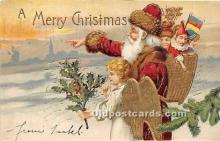 hol017754 - Santa Claus Postcard Old Vintage Christmas Post Card