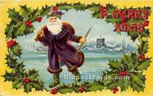 hol017802 - Santa Claus Postcard Old Vintage Christmas Post Card