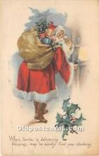 hol017813 - Santa Claus Postcard Old Vintage Christmas Post Card