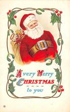 hol018025 - Santa Claus Christmas Old Vintage Antique Postcard