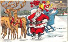 hol018027 - Santa Claus Christmas Old Vintage Antique Postcard