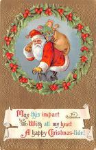 hol018031 - Santa Claus Christmas Old Vintage Antique Postcard