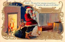 hol018035 - Santa Claus Christmas Old Vintage Antique Postcard