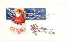hol018047 - Santa Claus Christmas Old Vintage Antique Postcard