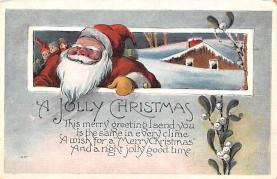 hol018051 - Santa Claus Christmas Old Vintage Antique Postcard