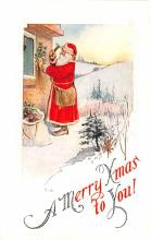 hol018073 - Santa Claus Christmas Old Vintage Antique Postcard