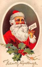 hol018085 - Santa Claus Christmas Old Vintage Antique Postcard