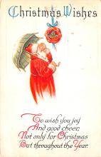 hol018093 - Santa Claus Christmas Old Vintage Antique Postcard
