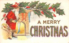 hol018097 - Santa Claus Christmas Old Vintage Antique Postcard