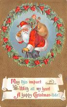 hol018101 - Santa Claus Christmas Old Vintage Antique Postcard