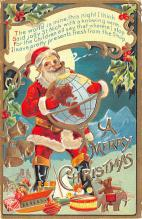 hol018105 - Santa Claus Christmas Old Vintage Antique Postcard
