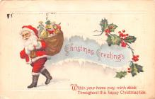 hol018115 - Santa Claus Christmas Old Vintage Antique Postcard