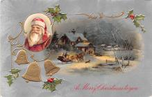hol018117 - Santa Claus Christmas Old Vintage Antique Postcard
