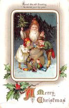 hol018121 - Santa Claus Christmas Old Vintage Antique Postcard