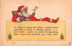 hol018143 - Santa Claus Christmas Old Vintage Antique Postcard
