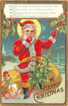 hol018145 - Santa Claus Christmas Old Vintage Antique Postcard