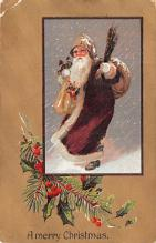 hol018151 - Santa Claus Christmas Old Vintage Antique Postcard