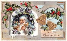 hol018155 - Santa Claus Christmas Old Vintage Antique Postcard