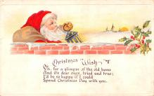 hol018183 - Santa Claus Christmas Old Vintage Antique Postcard