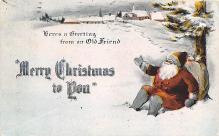 hol018199 - Santa Claus Christmas Old Vintage Antique Postcard