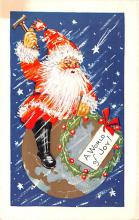 hol018225 - Santa Claus Christmas Old Vintage Antique Postcard
