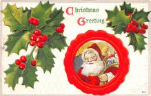 hol018227 - Santa Claus Christmas Old Vintage Antique Postcard