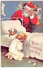 hol018231 - Santa Claus Christmas Old Vintage Antique Postcard