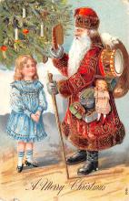 hol018239 - Santa Claus Christmas Old Vintage Antique Postcard