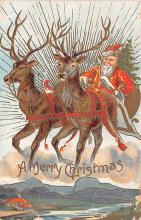 hol018285 - Santa Claus Christmas Old Vintage Antique Postcard