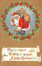 hol018307 - Santa Claus Christmas Old Vintage Antique Postcard
