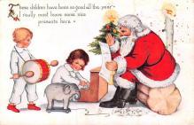 hol018323 - Santa Claus Christmas Old Vintage Antique Postcard