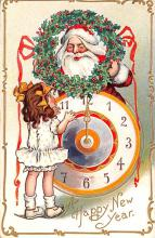 hol018325 - Santa Claus Christmas Old Vintage Antique Postcard
